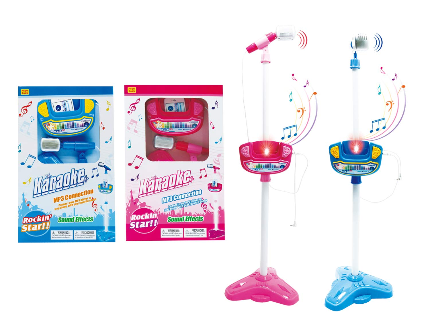 Papa N Me Store Music Function & Flashing Lights Child's Karaoke -Children's Toy Stand Up Microphone Play Set w/ Built-in MP3 Player, Speaker, Adjustable Height-1 Set