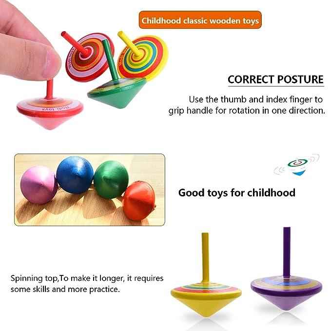 Farbenfroher Bemalung Kreisel Spielzeug Holzkreisel 4 x 4 x 4,5 cm Spielzeugkreisel aus Holz OZUAR 14 St/ück Kreisel aus Holz
