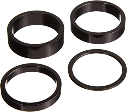 "SET of 4 BLACK 10mm Bicycle BMX or MTB headset spacers for 1 1//8/"" threadless"
