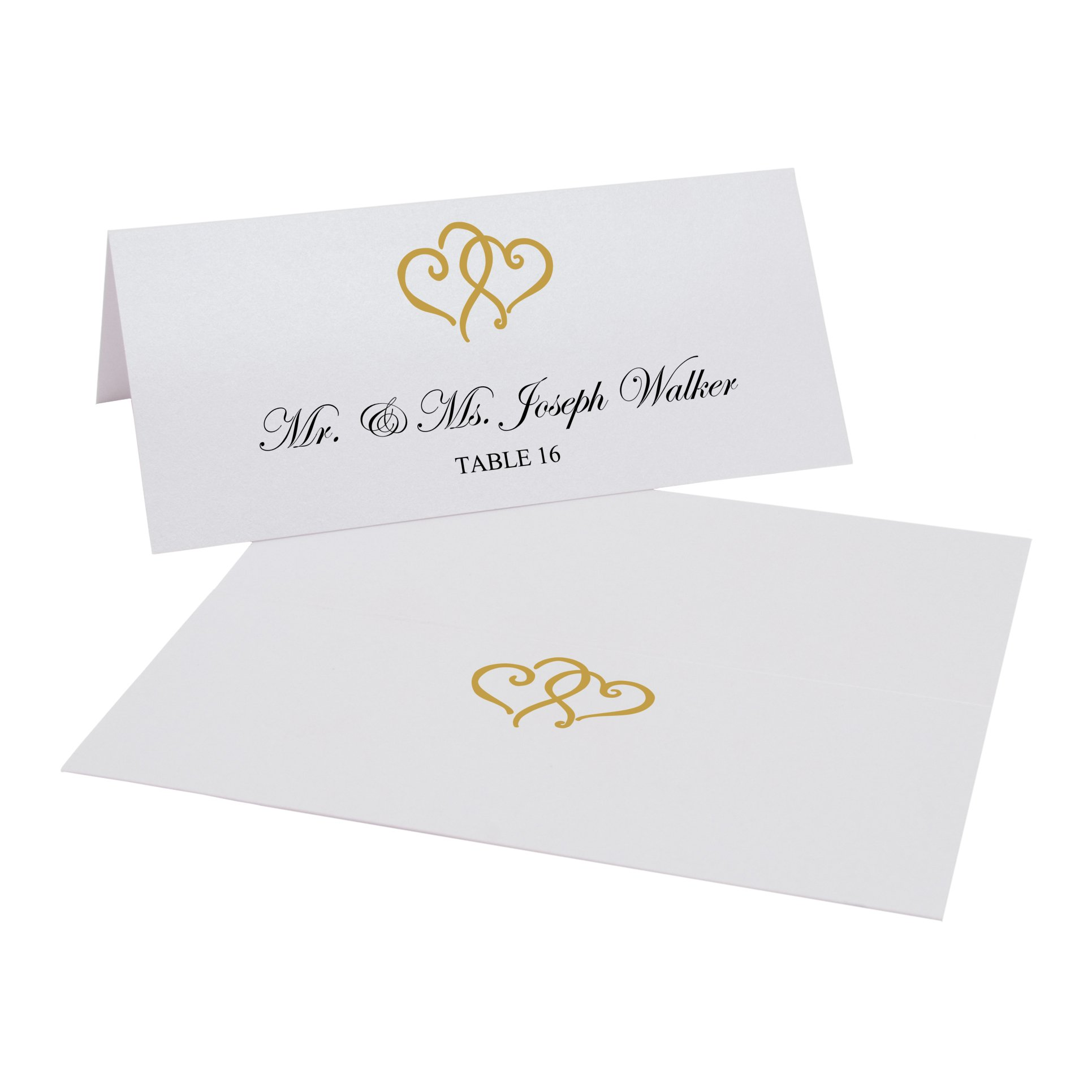 Documents and Designs Linked Hearts Easy Print Place Cards (Select Color), Gold, Set of 150 (25 Sheets)