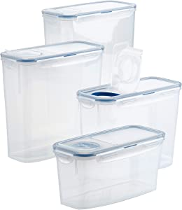 LOCK & LOCK Easy Essentials Food Storage Bin Set for Pasta, Flour, Sugar/Airtight Container Lids/BPA-Free/Dishwasher Safe, Clear