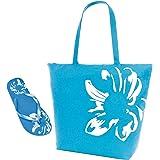 Womens Summer Floral Motif Swim-Tote Bag & Matching Flip Flops