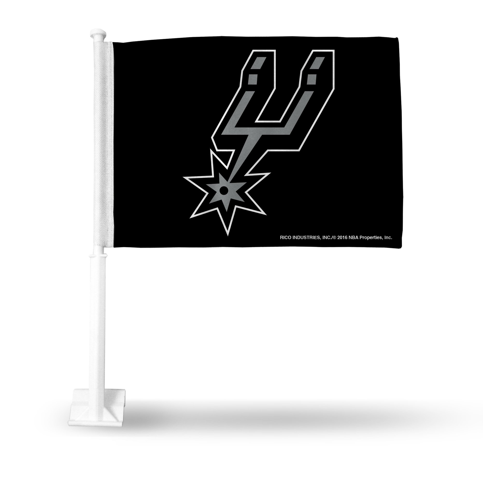 Rico NBA San Antonio Spurs Car Flag, Black, with White Pole