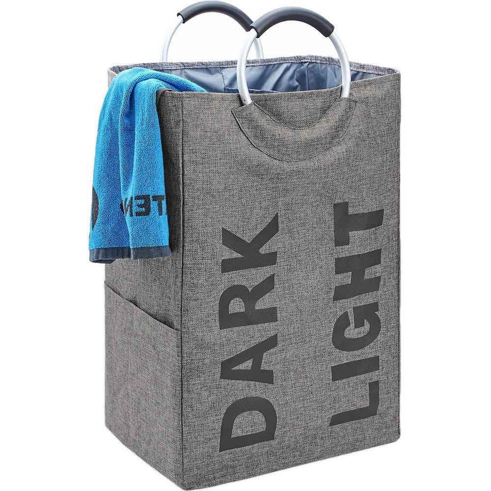 Bgtrend portabiancheria pieghevole, doppio con manici in lega, autoportante Toy Storage Bag per bambini, grigio