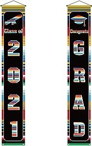 2021 Mexican Fiesta Graduation Decoration Congrats Grad&Class of 2021 Banner Mexico Graduation Party Decor and Supplies for Senior High College School