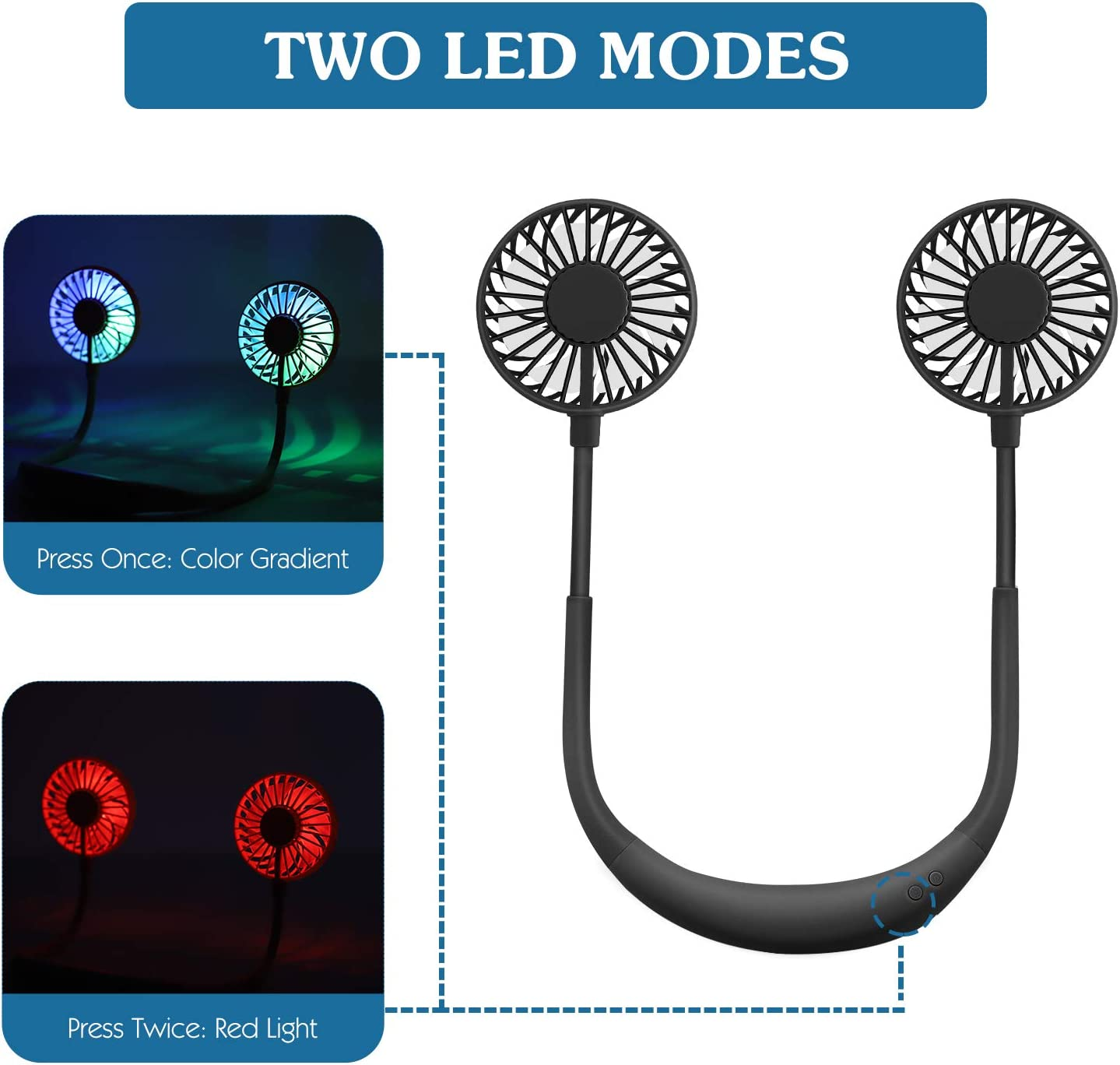 3 Speeds and 360 Degree Adjustment Head for Sports Office Outdoor Travel 2 modes LED Light MoKo Portable Personal Fan Black Hand Free Small USB Mini Neck Fan with 2000mAh Rechargeable Battery