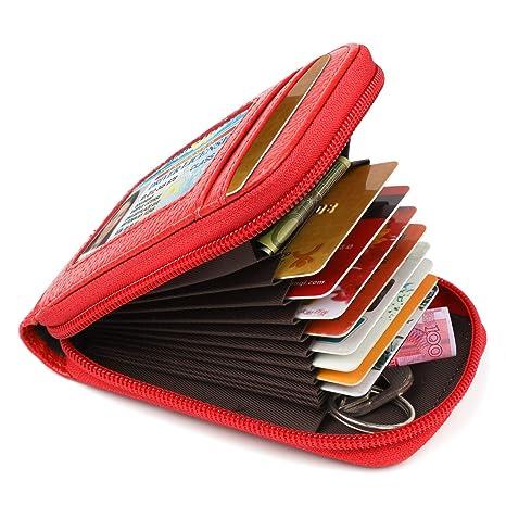 Tarjetero para Tarjetas de crédito Monedero Tarjetero Mujer con 12 Ranuras para Tarjetas Moneda 1 ID Windows Monedero de Mujer Pequeño con Cremallera ...