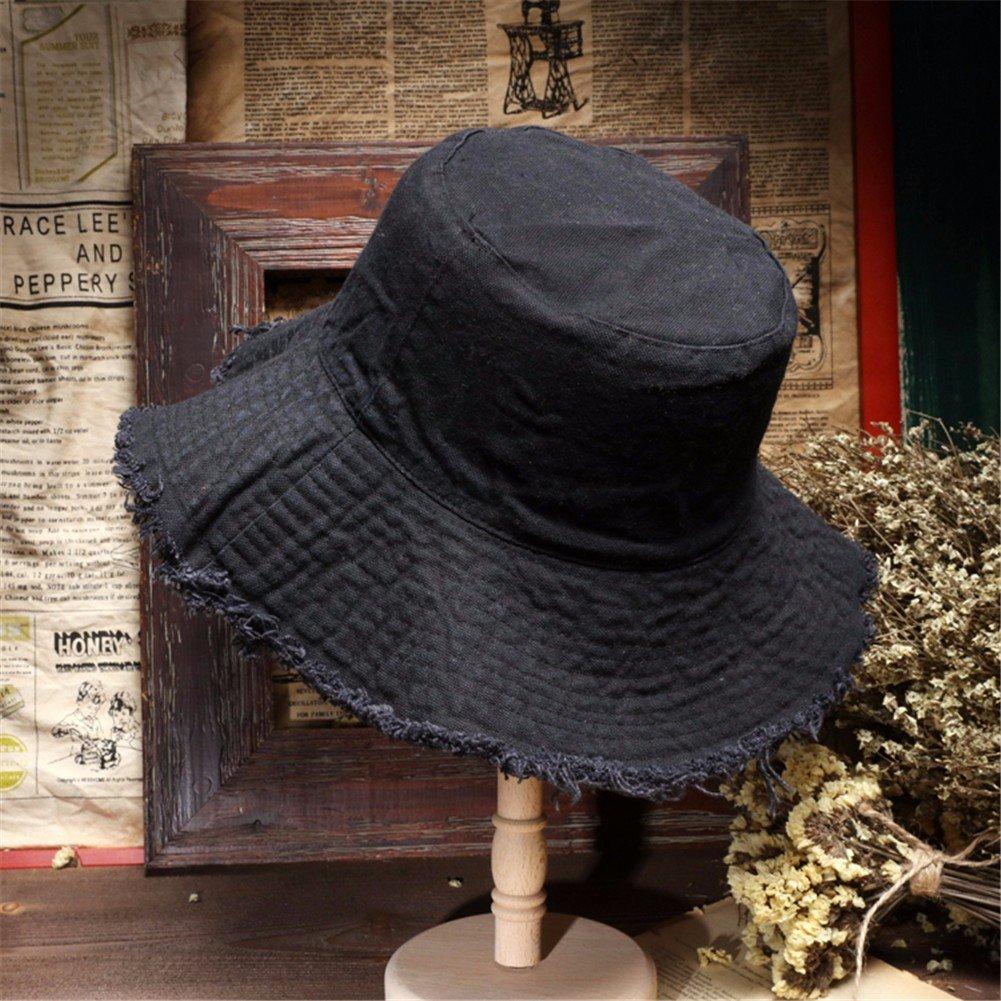 Vintage Moda Mujer Sombrero Sombrero pescador encantador Floppy Hat Hat cuchara caliente, negro
