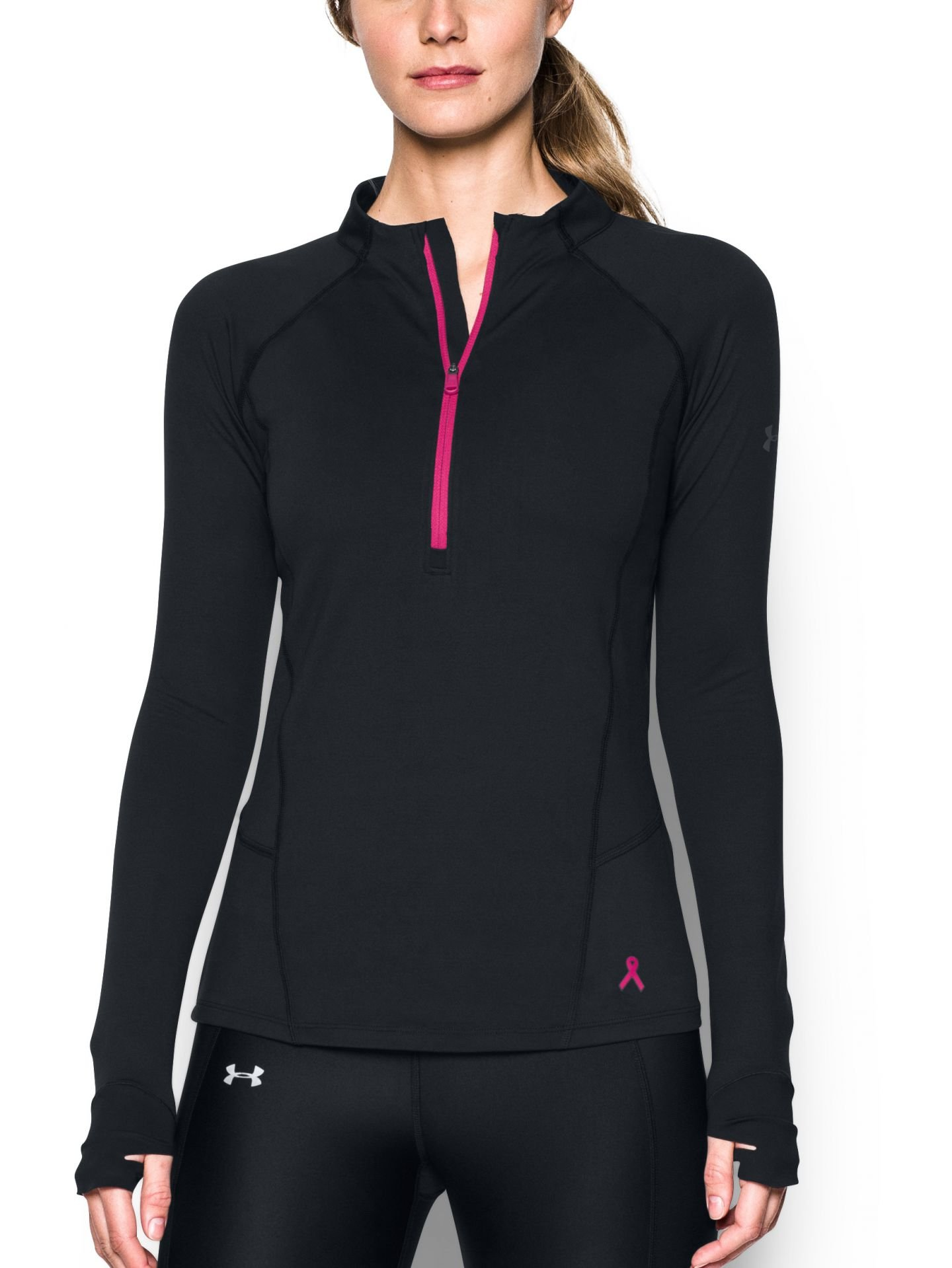 Under Armour Women's Run True 1/2 Zip,Black (002)/Reflective, Small by Under Armour (Image #1)