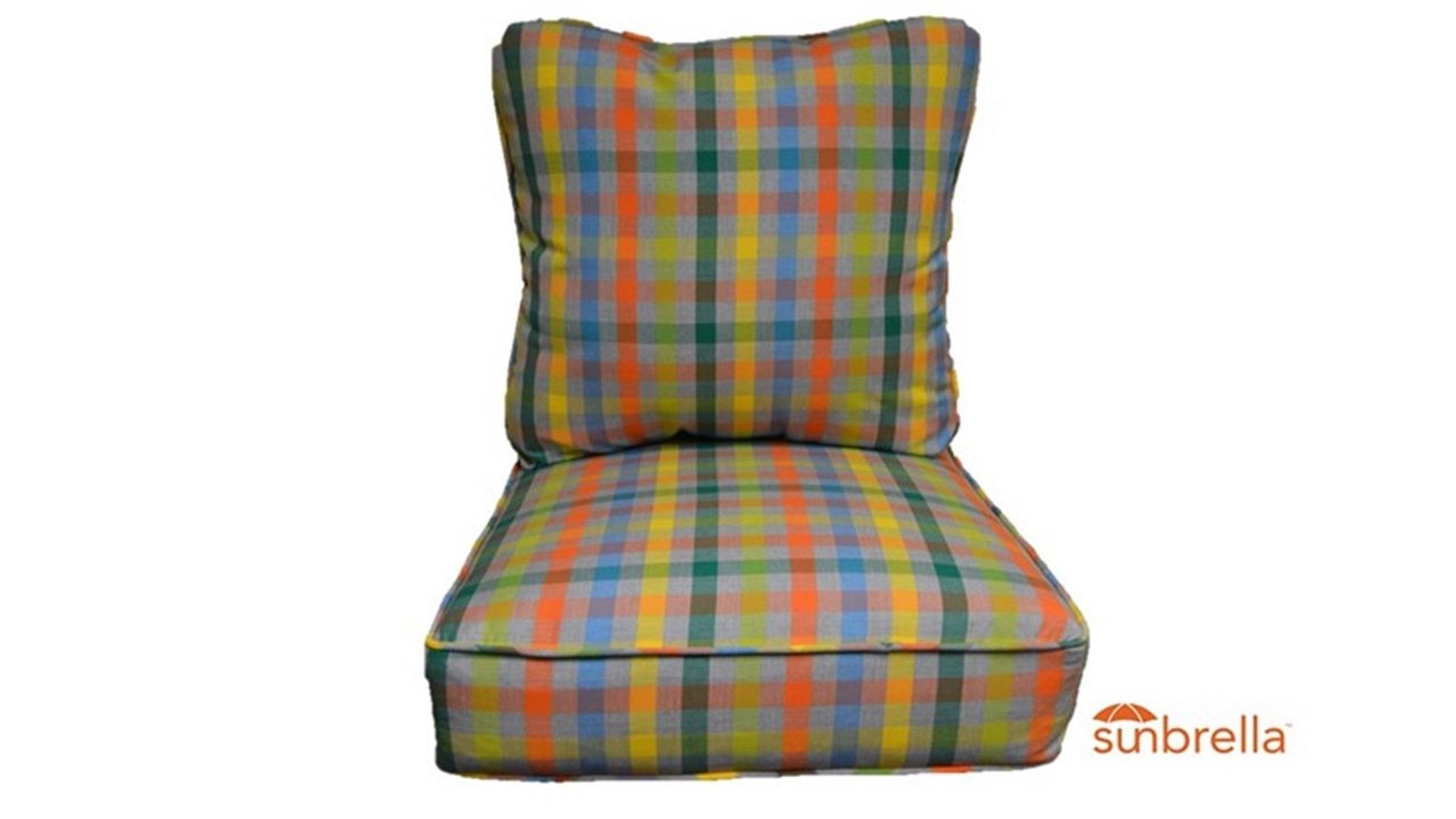 Sunbrella Connect Fusion Green Yellow Orange Plaid Cushion Set for Indoor / Outdoor Deep Seat Furniture Chair - Choose Size (Seat Cushion 24'' w X 27'' d)
