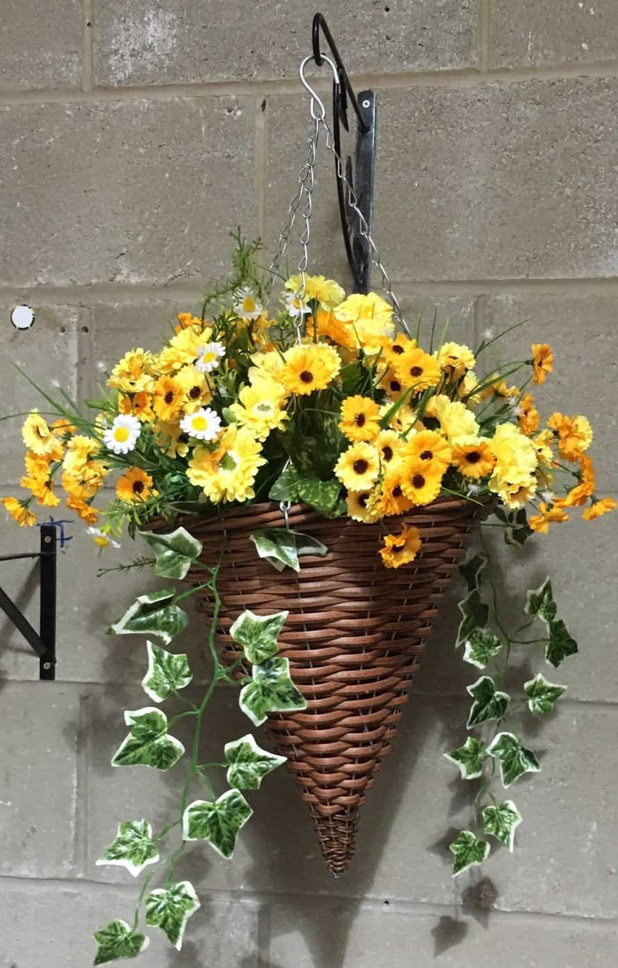 Artificial Flowers Hanging Cone / Outdoor, Yellow Mix, Basket and Bark Eternal Bloom