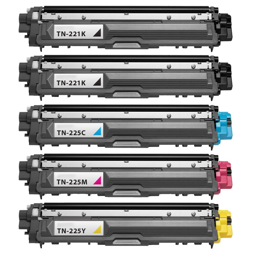 Febe New Compatible TN221 Black and TN225 Color Toner Cartridge for HL-3140CW HL-3170DW MFC-9130CW – 5 Pack by Febe