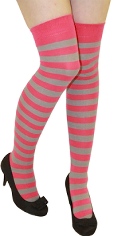 Women Stripe Over The Knee Socks Thigh High Girls Stretchy OTK Socks Fancy Dress (Baby Pink & White) Crazy Chick OTK361