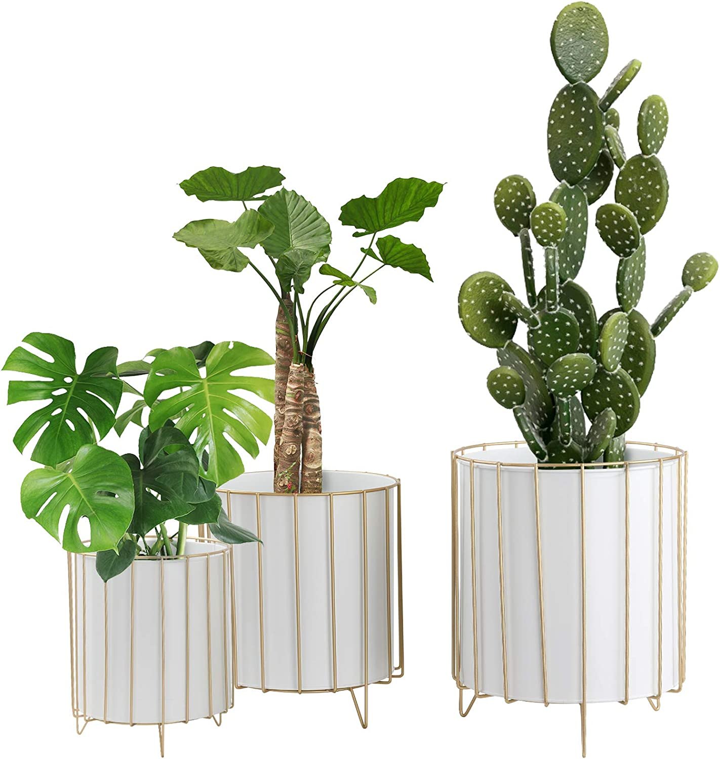 Large Metal Plant Stand Flower Pots Set of 3 for Planters, Modern Garden Planter Holders Indoor Stand with Pots, Outdoor White or Black Iron Flower Pots with Golden Wire Frame for Home Decorate(White)