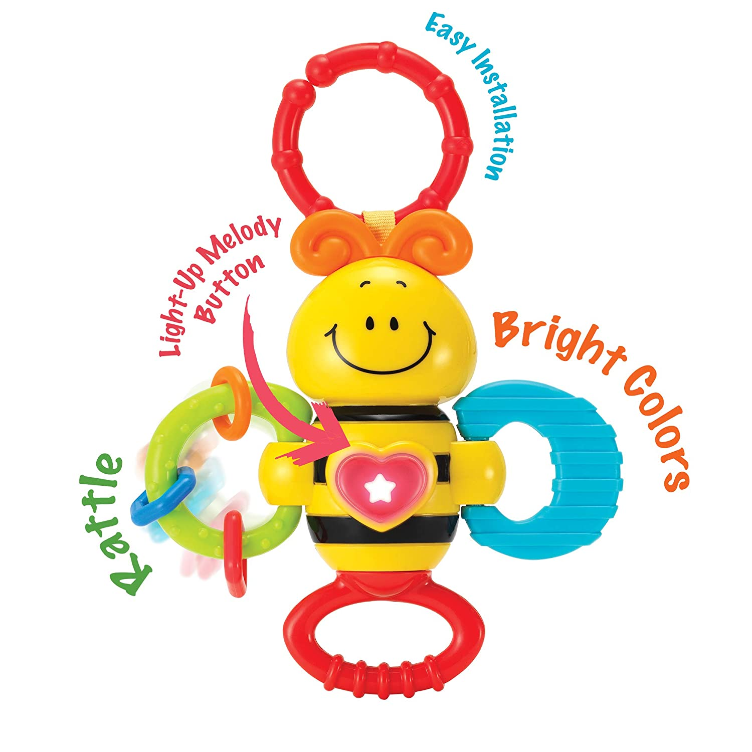 KiddoLab Twist Rattle /& Shake Musical Bee Light-Up Toy and Teething Ring for Toddlers 3 Months Sensory Chew and Fine Motor Skills Toy for Newborn Musical Playtime Baby Teether and Rattle Toy Boxiki .