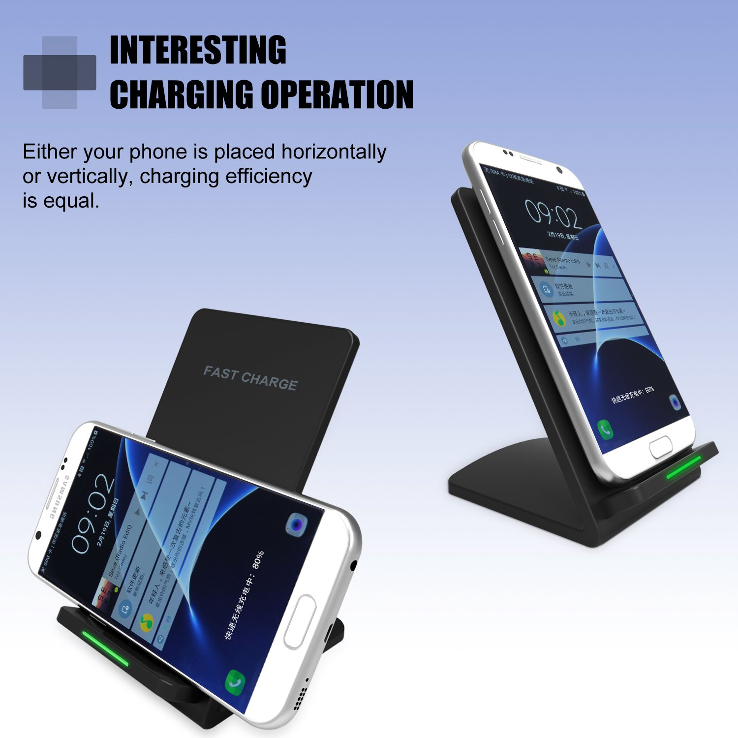 Fatst Wireless Charger,Lobkin 10W Charging Stand:2 Coils QI Wireless Charging Stations for Samsung Galaxy S8 S8 Plus S7 S7 Edge Note 5 S6 Edge Plus- (AC Adapter Not Included)