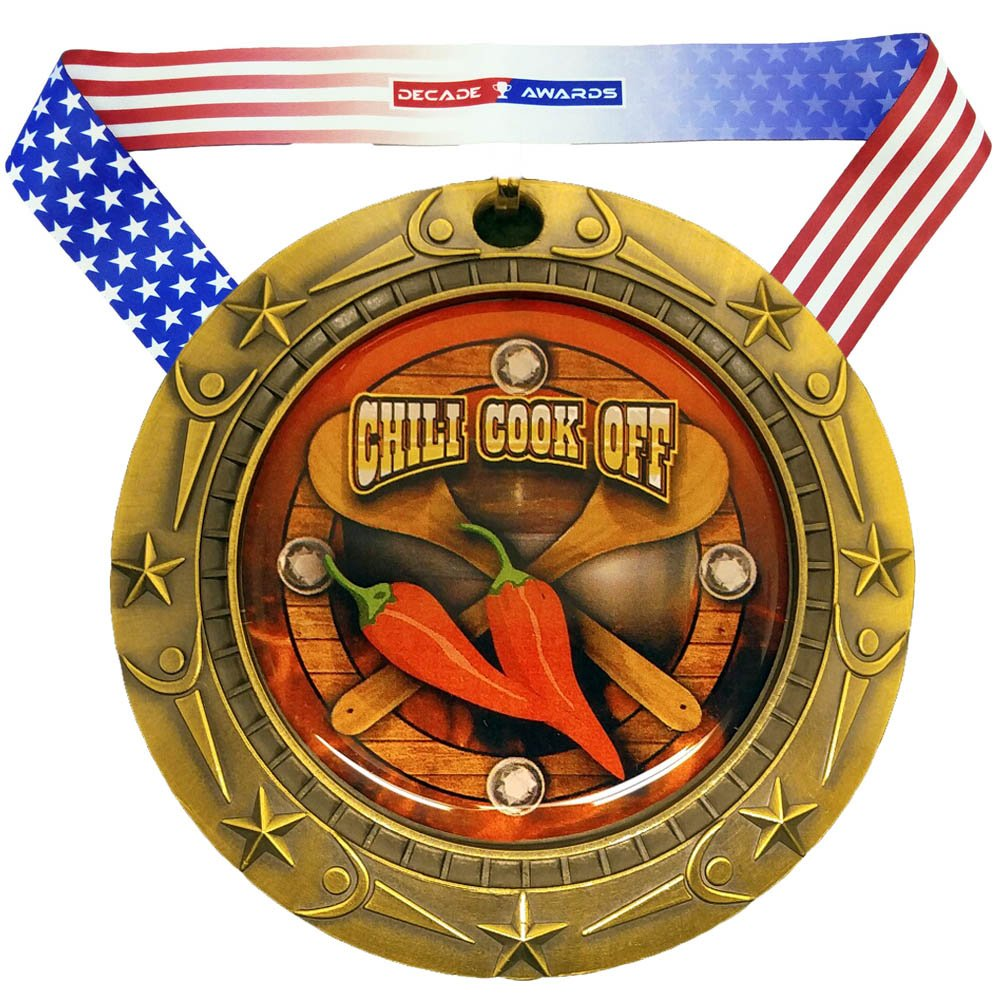 Decade Awards Chili Cook-Off Medal World Class Engraved Medal Customize Now 3 Inch Wide Chili Competition Medallion with Stars and Stripes American Flag V Neck Ribbon