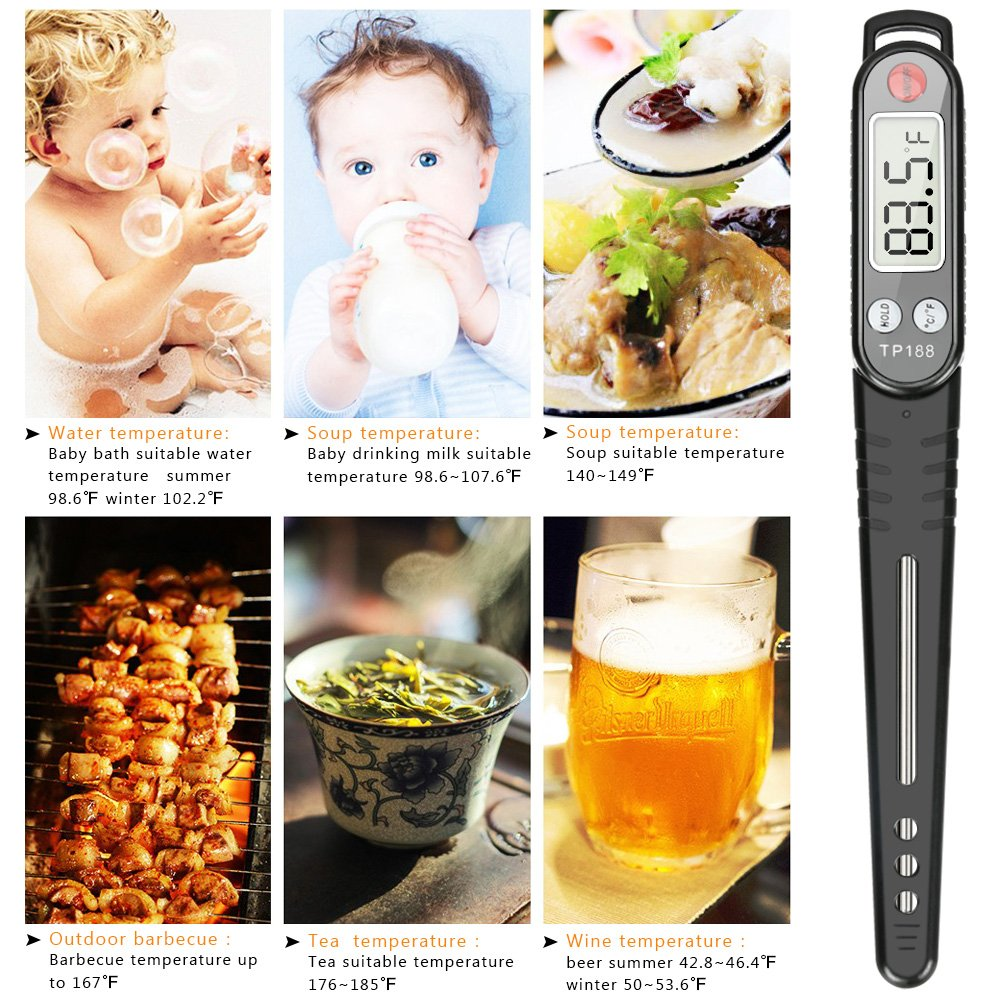 Meat Thermometer, totobay Food Thermometer Instant Read Thermometer Cooking Thermometer with Long Probe for Kitchen Cooking BBQ Grill Smoker Meat Fry Food Milk Yogurt (Black) by totobay (Image #7)