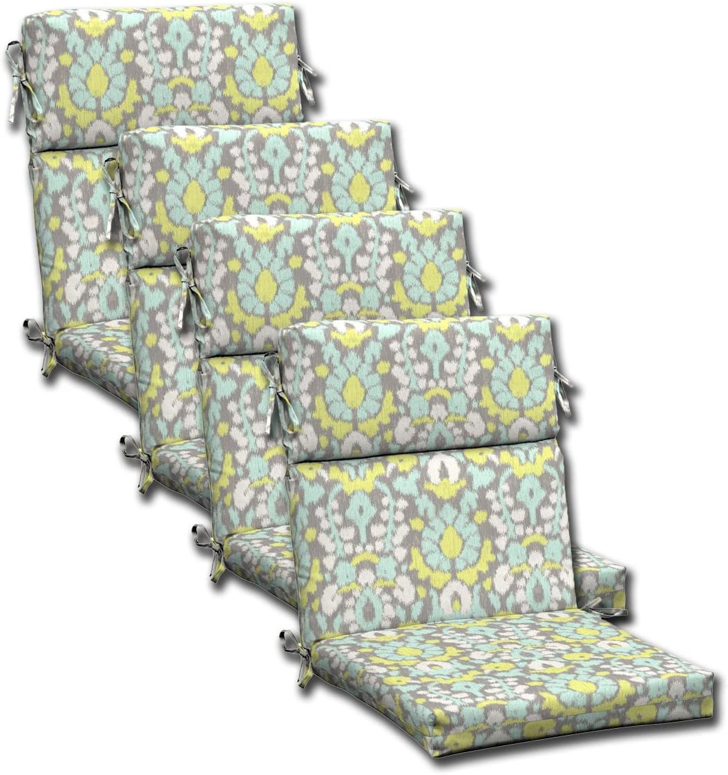 SET OF 4 Outdoor Dining Chair Cushions 44 L x 21 W x3.75 H Hinge at 24 . Polyester fabric Phyllis by Comfort Classics Inc.