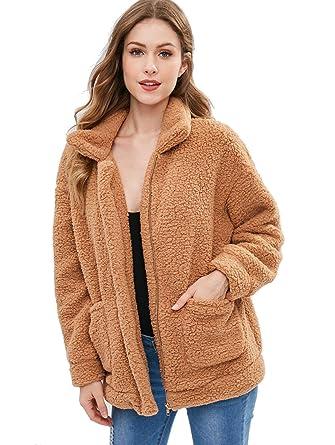 134fd6faf8 ZAFUL Women Faux Fur Winter Coat Zip Up Fluffy Cardigan Jacket Camel Brown