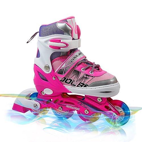 Adjustable Inline Skates For Kids Otw-Cool Girls Rollerblades With All Wheels Light Up Safe And Durable Inline Roller Skates For Girls