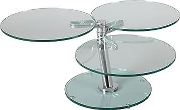 Glass Swivel Coffee Table.Destock Meubles Round Swivel Coffee Table 3 Shelves Glass Amazon Co