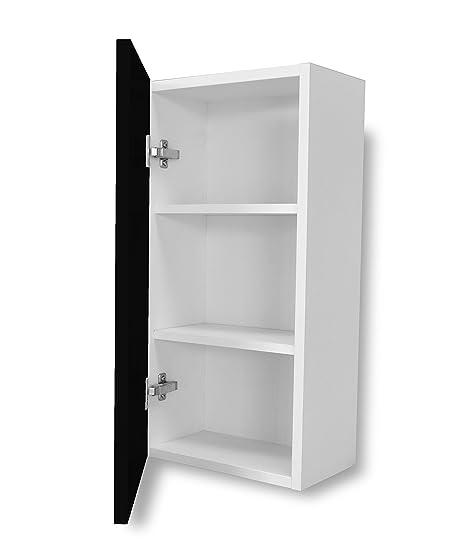 Aleghe Complemento Liso Mueble Auxiliar de baño, Madera, Negro Brillo, 36.00x22.