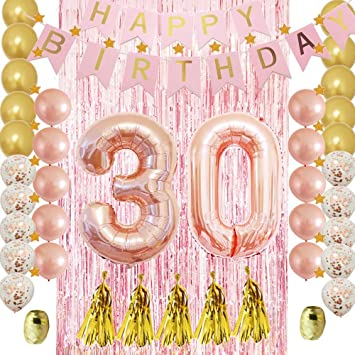 30th Birthday Decorations for Her-Rose Gold-Confetti Latex Balloon,Tassel  Garland,Tinsel Foil Fringe