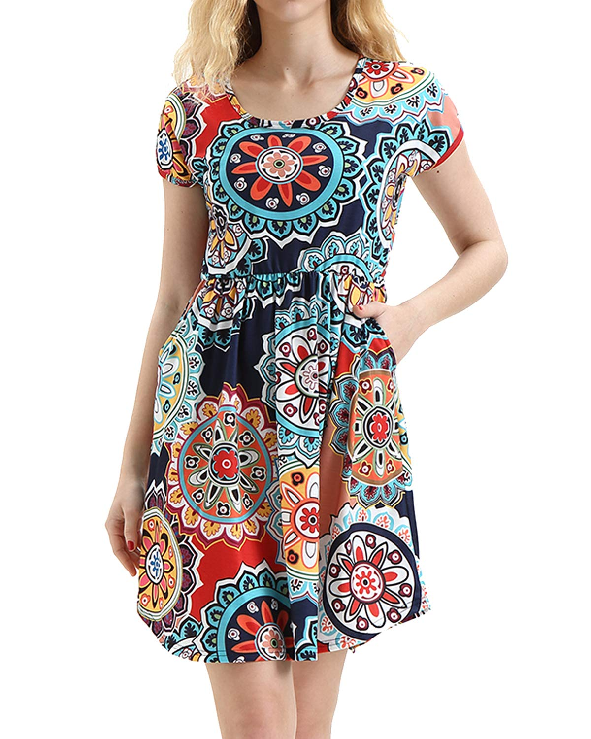 deesdail Patterned Dresses for Women, Ladies Scoop Neck Short Sleeve Midi Dress Floral Printed Long Tunic with Pockets Stretchy Shirts Navy Blue Flower M