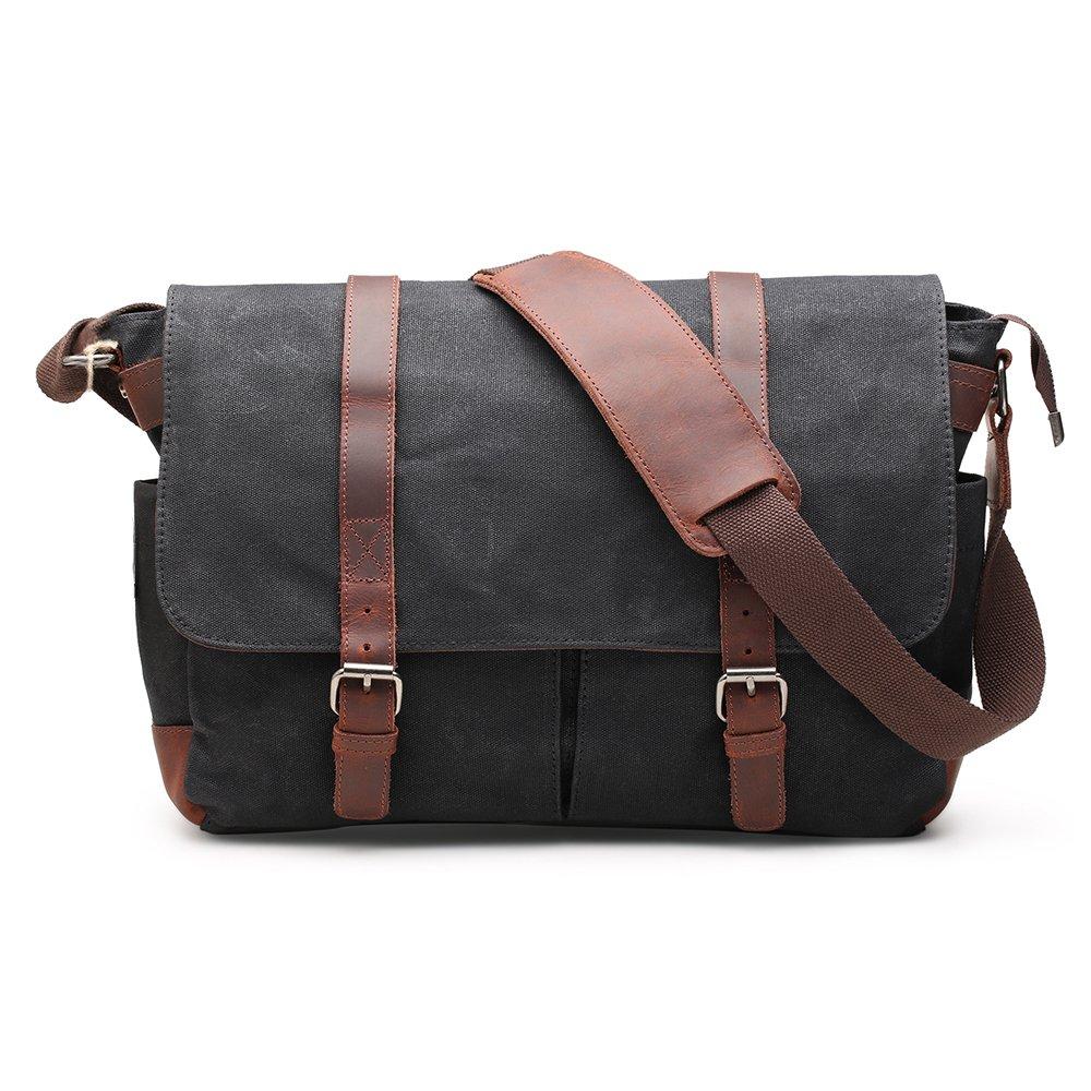 H-ANDYBAG 15 Inch Shoulder Laptop Bag Waxed Canvas Messenger Bag for Men (Black)