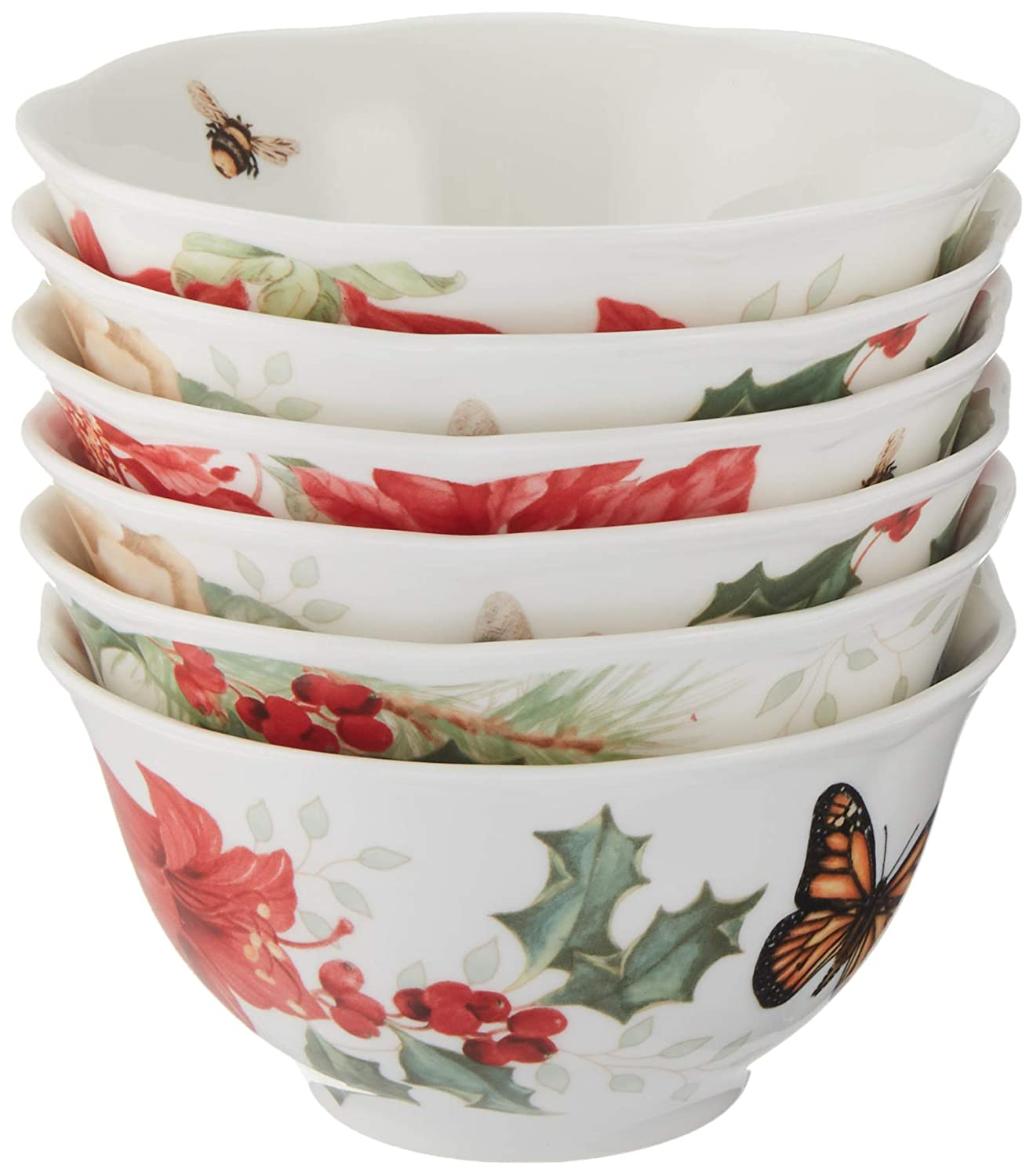Lenox 880092 Butterfly Meadow Holiday Rice Bowls, Multicolor
