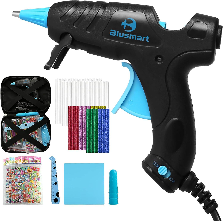 Blusmart Hot Glue Gun, 25W/40W Adjustable Mini Glue Gun Kit with 35 Glue Sticks, Ruler, Silicone Mat, Finger Caps, and Sticker Sheets for Home & School DIY Arts & Craft Kids