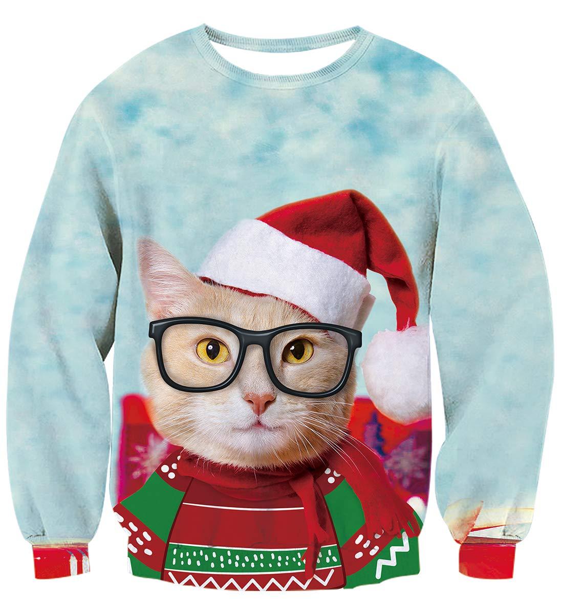 Idgreatim Teens Boys Girls Funny Christmas Cats Graphic Pullover Ugly Christmas Sweatshirt Sweater S