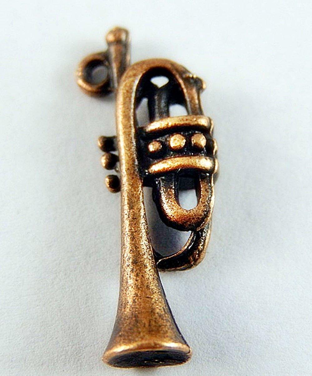 Sousaphone Charm Red Copper Alloy Tuba Trumpet Shape Pendants Crafts Findings 60pcs
