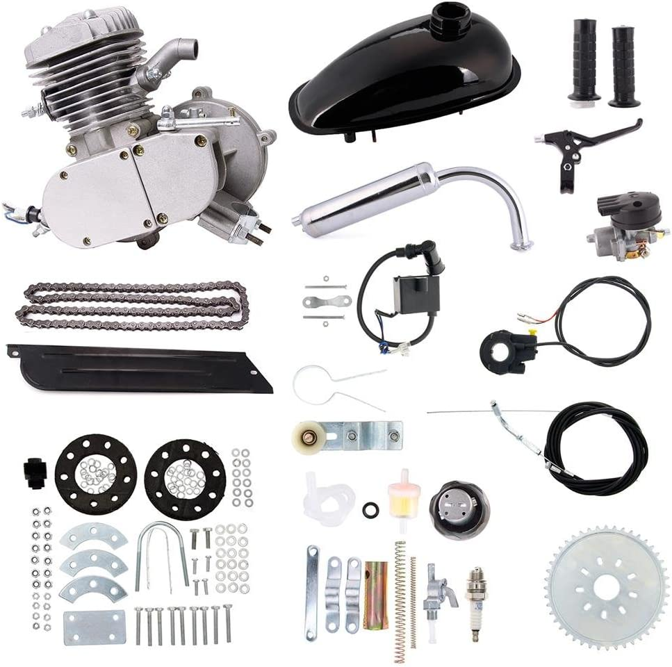 Silver 50cc DIY 2-Stroke Motor Kits Bike Motorized Bicycle Black Gas Engine