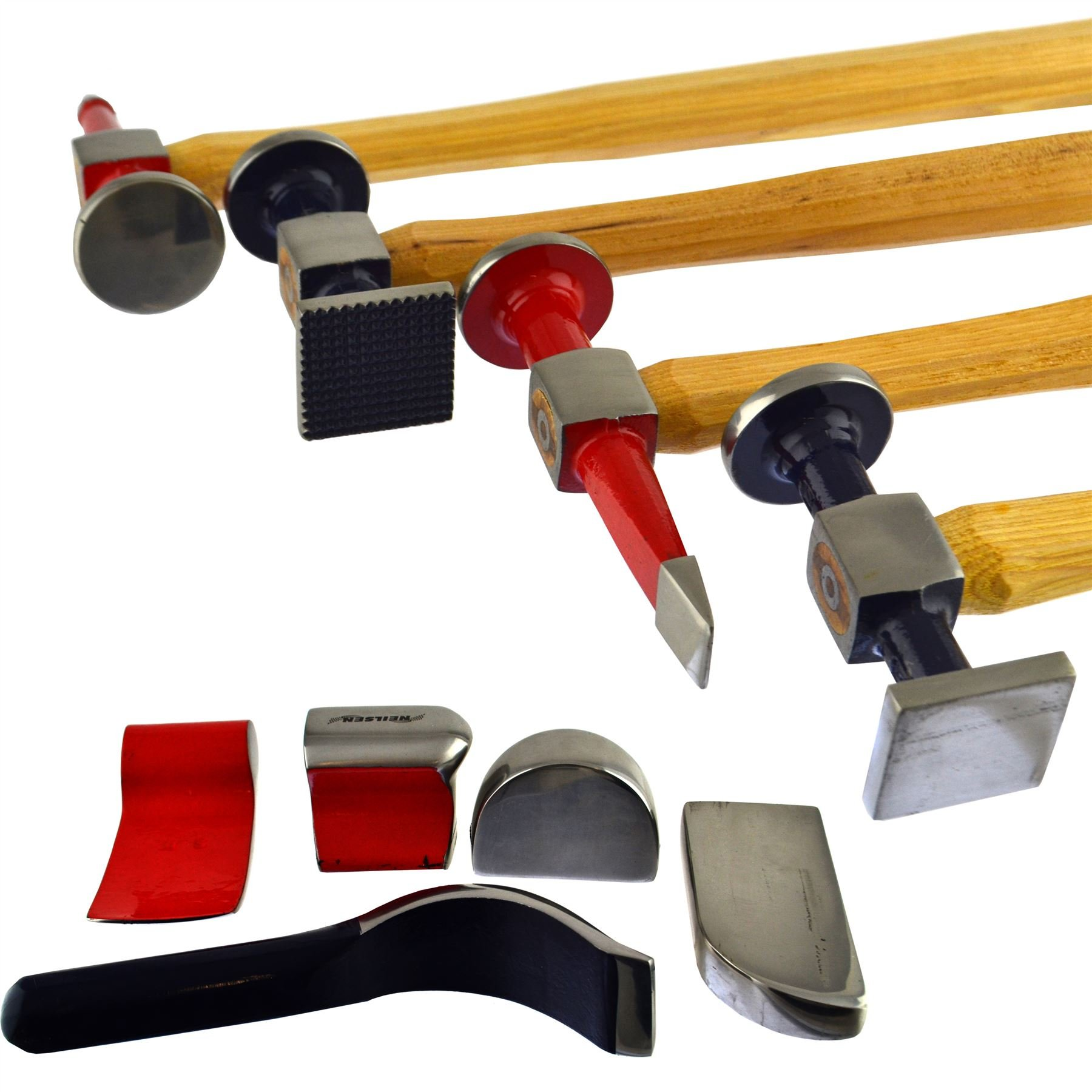 Auto body Repair Kit Panel Beating Hickory Hammers Dollies Shrinking Moulding 9pc by AB Tools-Neilsen (Image #2)