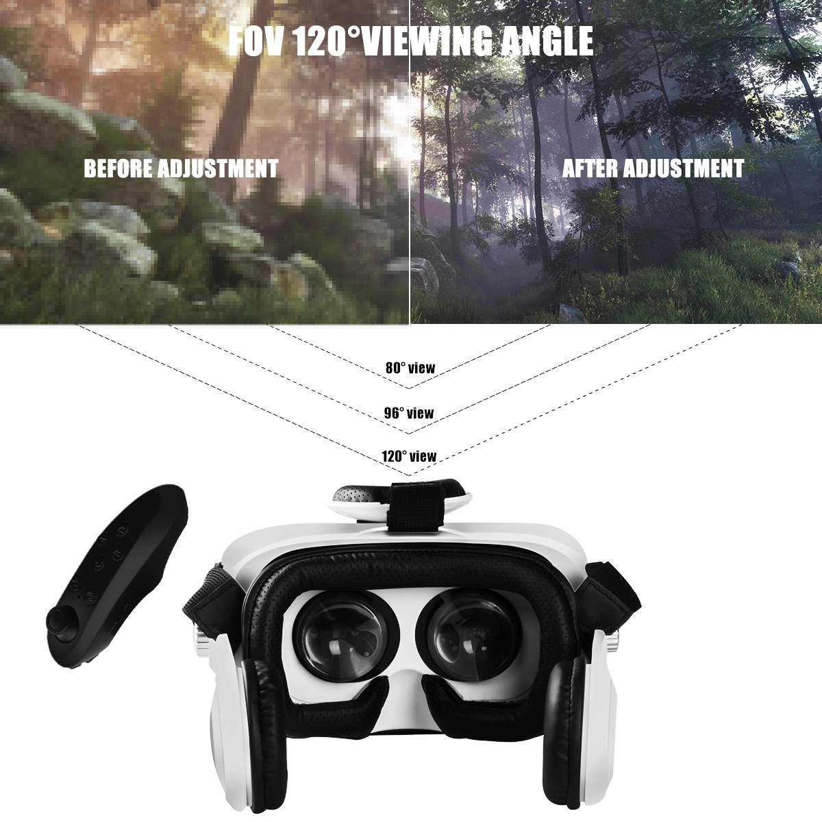3D VR Glasses, YESSHOW VR Goggles Virtual Reality Headset Box for 3D Movies and VR Games with Remote Control Compatible with iPhone X /8/8 Plus 7/7 Plus/6S/ 6 Samsung S8/S7 and Other 4.0''-6.0'' phones by YESSHOW (Image #8)