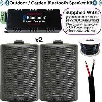 Fiesta en el jardín/Barbacoa al Aire Libre Kit de Altavoces – 110 W inalámbrico Mini estéreo Amp & 2 Negro Altavoces – Bluetooth Amplificador para Fuera de música Partes – cablefinder: Amazon.es: Electrónica
