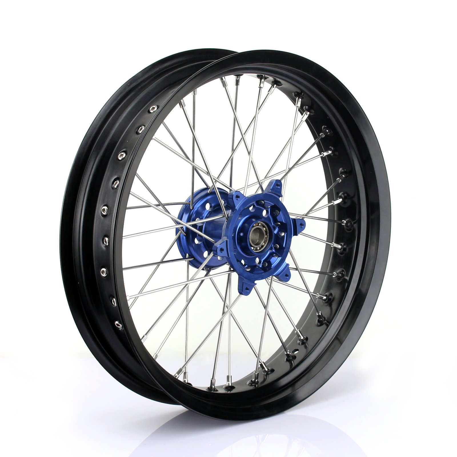 TARAZON 17x3.5 Front Supermoto Complete Wheel Set Rim Spokes Blue Hub for Yamaha YZ250F YZF250 2007-2013 YZ450F YZF450 2008-2013 YZ125 YZ250 2008-2015