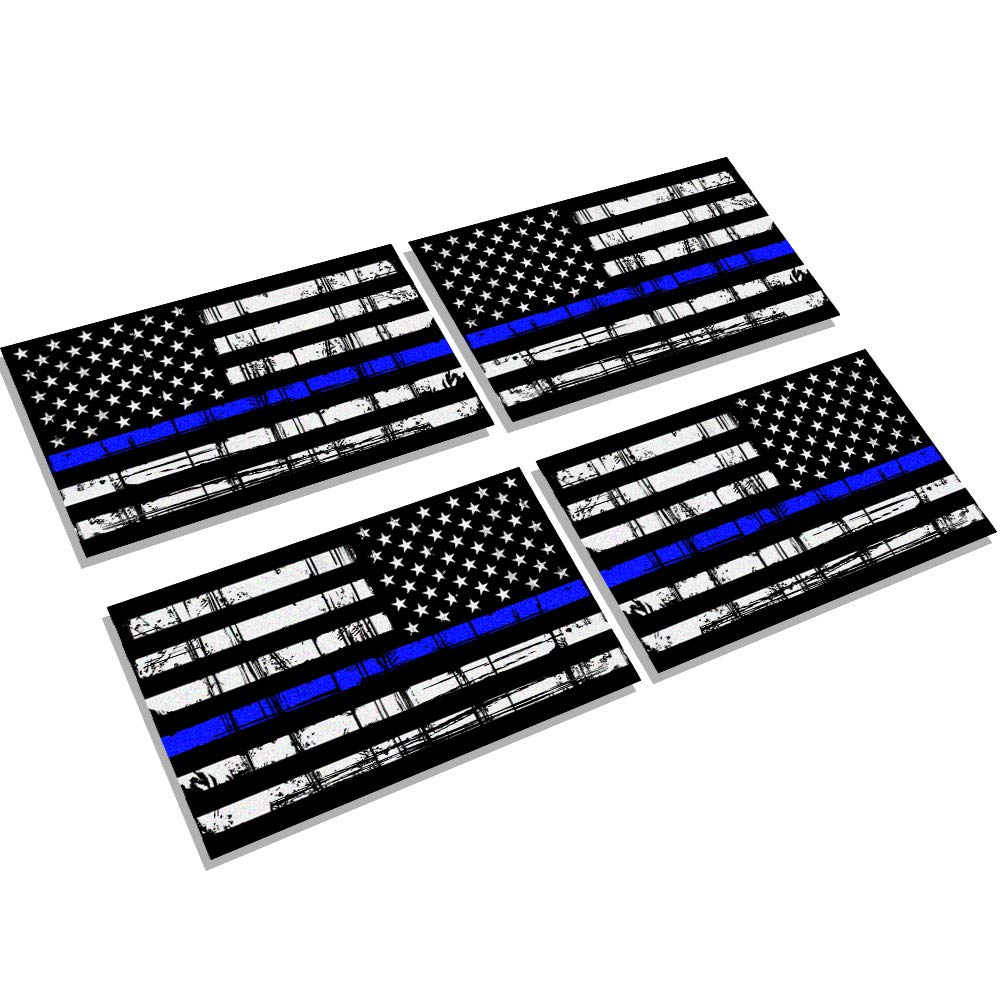Creatrill Reflective Tattered Thin Blue Line Decal Matte Black – 2 Pairs 3x5 in. American USA Flag Decal Stickers for Cars, Trucks, Hard Hat, Support Police and Law Enforcement Officers Chengyuan