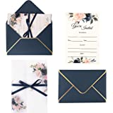 Doris Home Navy Blue Invitations Cards with Envelopes and Printed Inner Sheets for Bridal Shower Invite, Baby Shower…