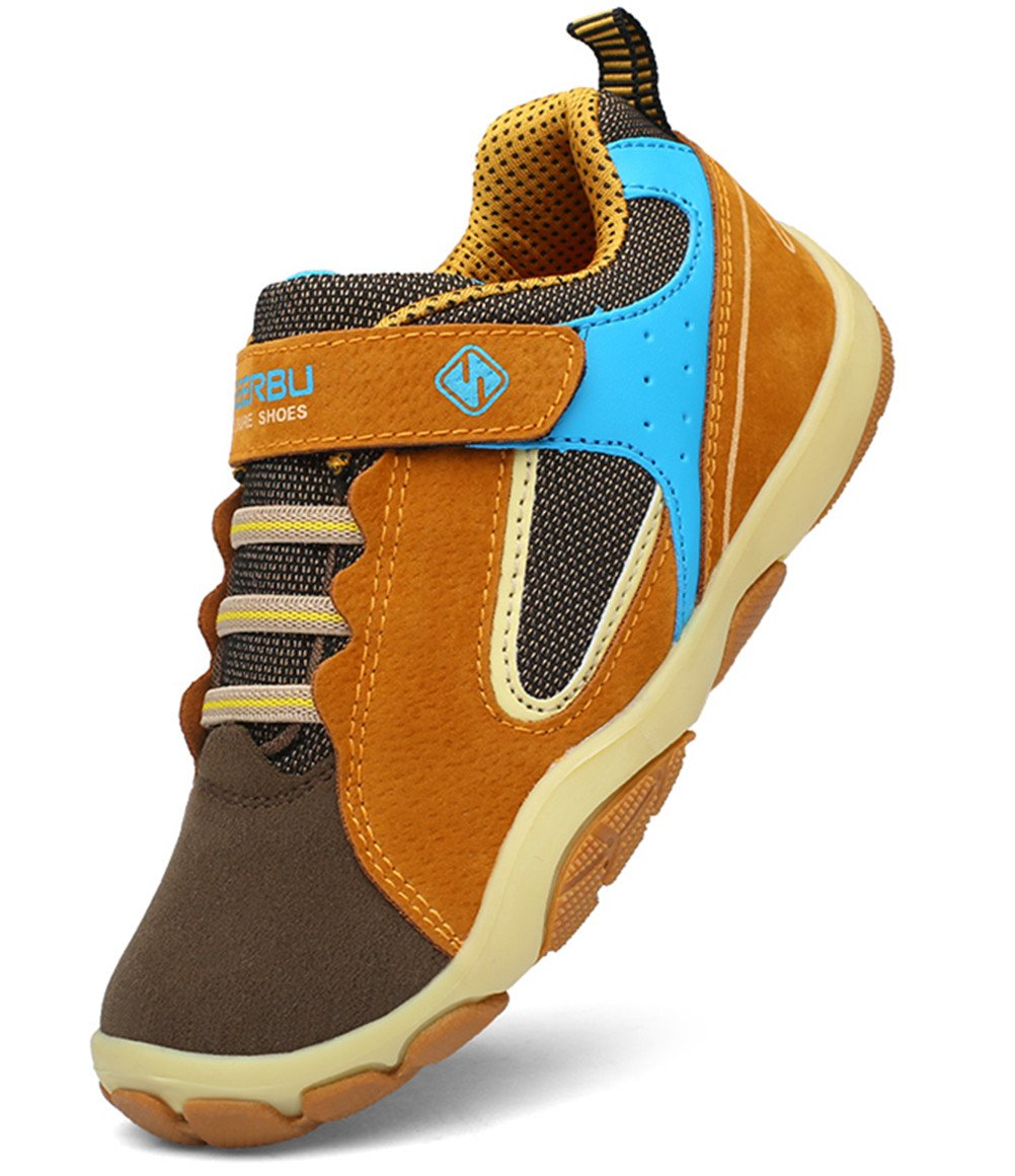 DADAWEN Kid's Outdoor Hiking Athletic Sneakers Strap Trail Running Shoes (Toddler/Little Kid/Big Kid) Brown US Size 5 M Big Kid by DADAWEN (Image #1)