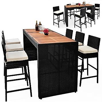 Deuba | Bar de Jardin 6+1 • polyrotin Noir • Coussins Inclus • Plateau de  Table en Acacia | Ensemble Table et chaises, Tabouret, terrasse, Balcon