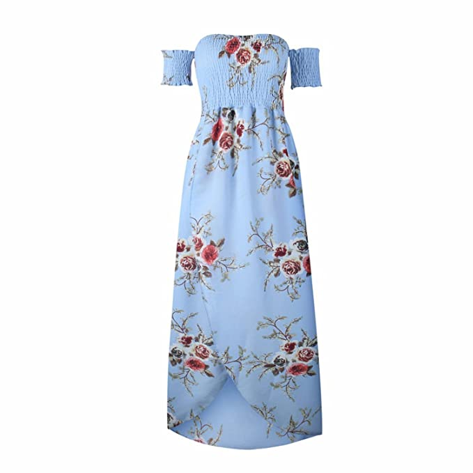 eb7542e216f Women s Boho Style Off Shoulder Chiffon Long Dress Summer Beach Floral Print  Split Party Maxi Dress