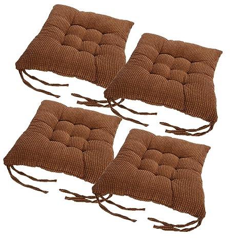 laamei Pack 4 Cojines de Asiento Algodón Cómodos Cojín Terraza Amortiguador de Sillas Oficina Hogar Muebles Decoración con Lazos 40cm (A-Marrón)