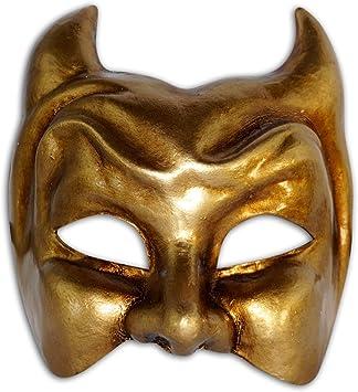 Máscara Veneciana Mitad Diavolo para Hombres (Oro): Amazon.es: Juguetes y juegos