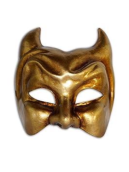 Máscara veneciana mitad Diavolo para hombres (oro)