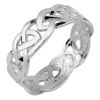 3fc164e46f896 Women's 14k White Gold Celtic Wedding Band Trinity Knot Eternity Ring