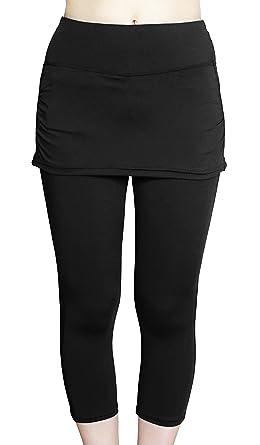 aa3d29e4d66d5 COCOSHIP Black Women's UPF 50+ Skirted Swim Capris Water Tankinis  Multipurpose Sport Leggings S(