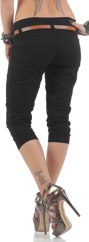 Malito Capri-Pantalones con imitaci/ón de Cuero cintur/ón 5398 Mujer